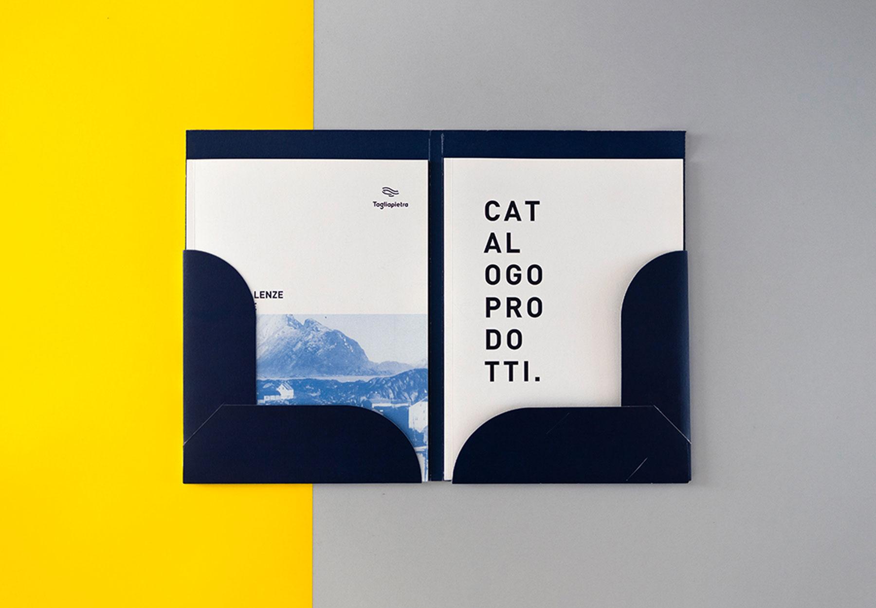 progettazione company profile e catalogo tagliapietra Dry Studio